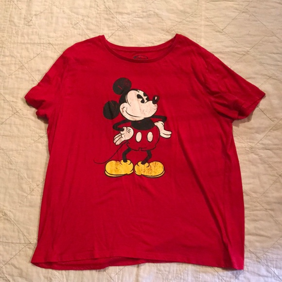 2ad8b009 Disney Tops | Womens Red Mickey Mouse Tee Shirt Size 3x | Poshmark